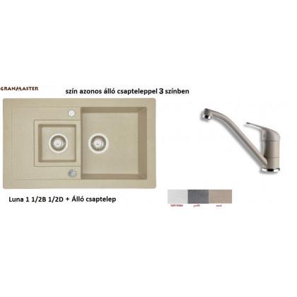 Granmaster LUNA 1 1/2B 1D gránit mosogató + álló csaptelep --