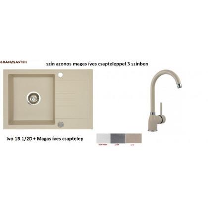 Granmaster IVO 1B 1/2D gránit mosogató + magas íves csaptelep --